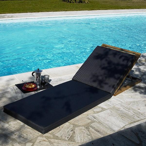 Matelas transat noir costa la boutique desjoyaux for Transat jardin confortable