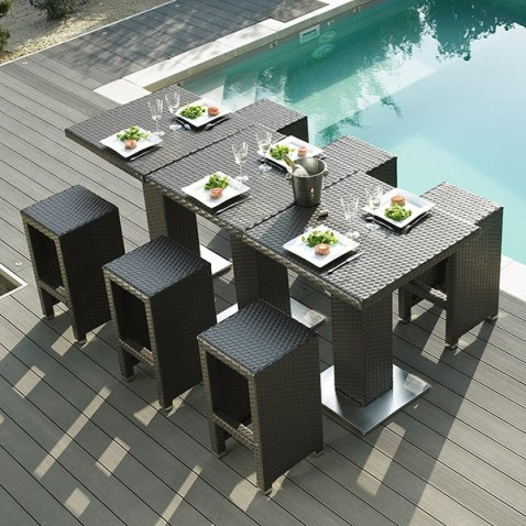 stunning table de jardin haute en resine images awesome. Black Bedroom Furniture Sets. Home Design Ideas
