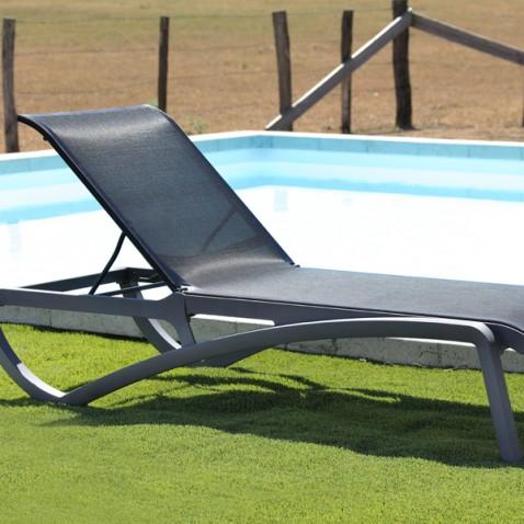 Chaise longue piscine aliz grise noire la boutique for Chaise de jardin noire